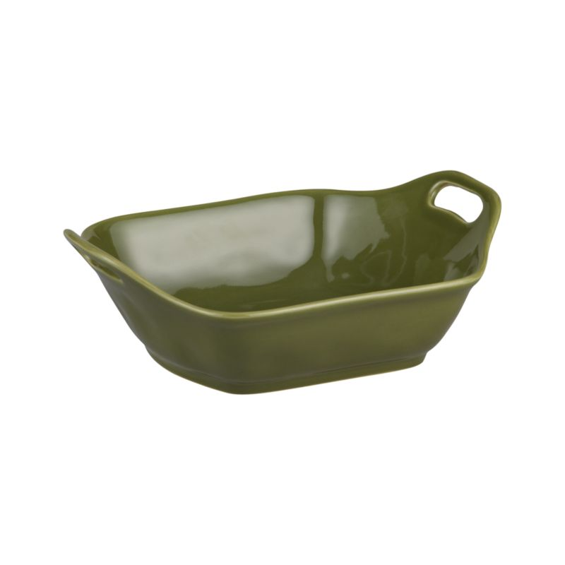 Charming oven-to-table baker shapes up in a flared, rounded square with raised cutout handles and a versatile rich green glaze.<br /><br /><NEWTAG/><ul><li>Stoneware</li><li>Dishwasher-, microwave and oven-safe to 480 degrees</li><li>Made in Portugal</li></ul>