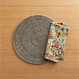 Rattan Placemat and Octavio Green Napkin