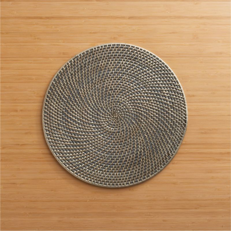 Grey rattan placemat crate and barrel