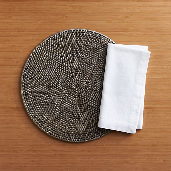 Grey Rattan Placemat and Adobe Napkin