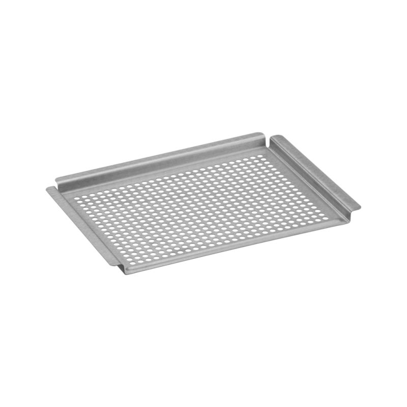 Brushed stainless grid with raised handle rim all around is the smart choice for grilling small and delicate foods like seafood, fruit and veggies. Consistent perforations mean even heat distribution every time without food loss through the grill grate.<br /><br /><NEWTAG/><ul><li>Stainless steel</li><li>Heat-safe to 572 degrees</li><li>Dishwasher-safe</li><li>Made in China</li></ul>