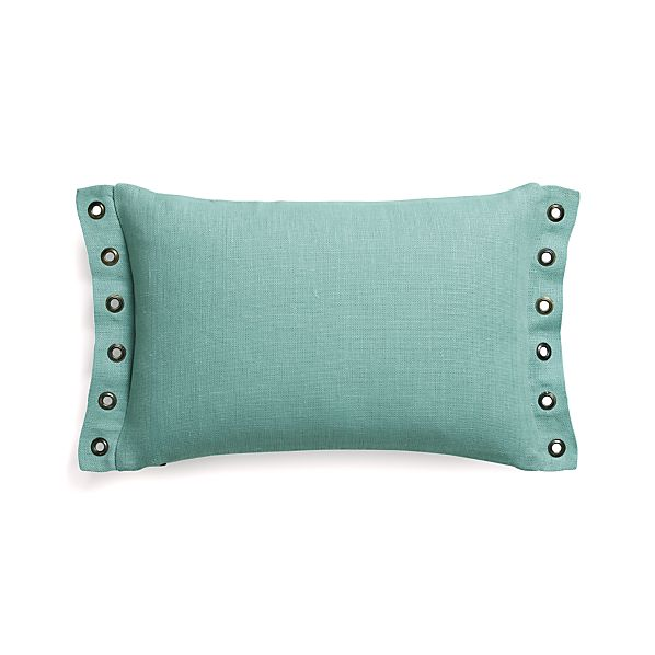 "Grommet Aqua 18""x12"" Pillow with Feather-Down Insert"