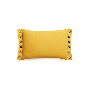 "Grommet Yellow 18""x12"" Pillow with Feather-Down Insert"