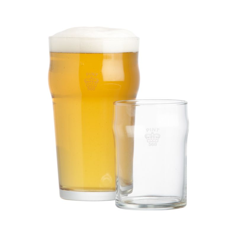 Pint And Half Pint Glasses With Crown Crate And Barrel