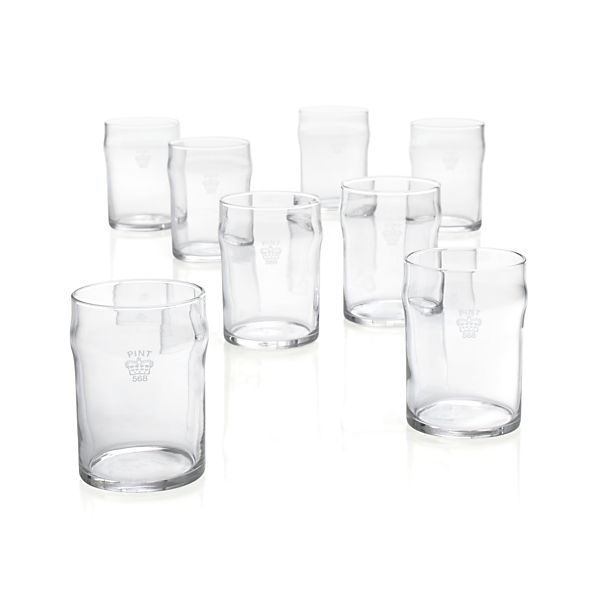 Half Pint Tumblers with Crown Set of Eight