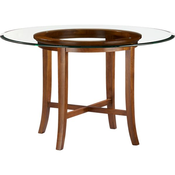 "Halo Cognac Dining Table with 48"" Glass Top"