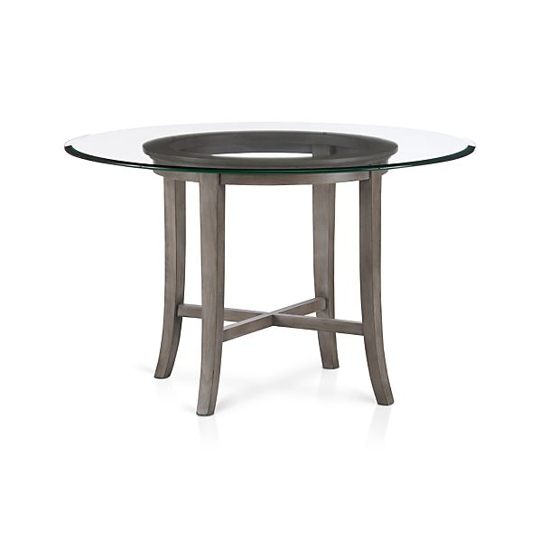 "Halo Grey Dining Table with 48"" Glass Top"