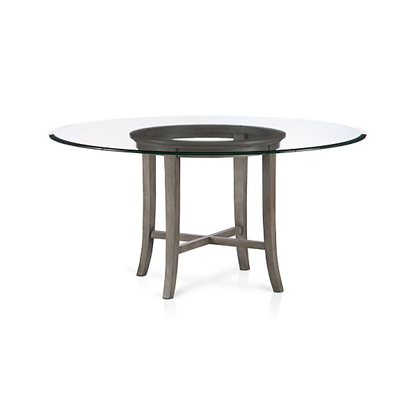 "Halo Grey Dining Table with 60"" Glass Top"