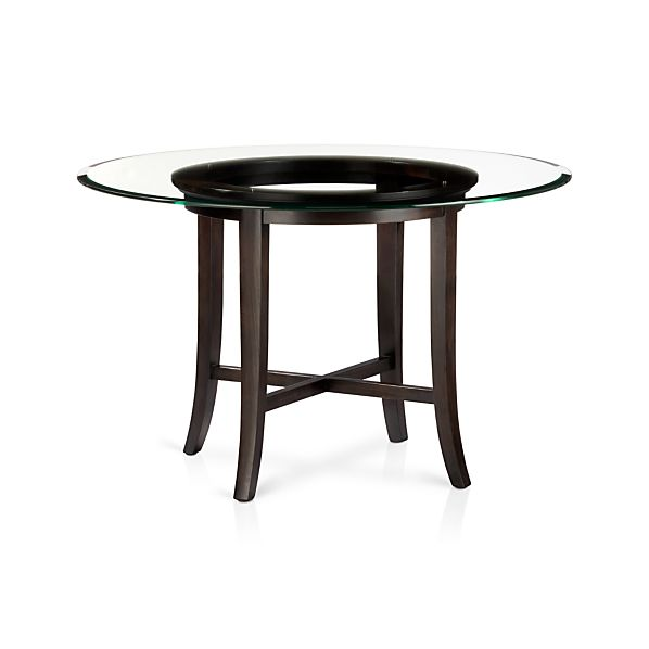 Round Dining Table With 48 Glass Top In Halo Ebony Dining Tables