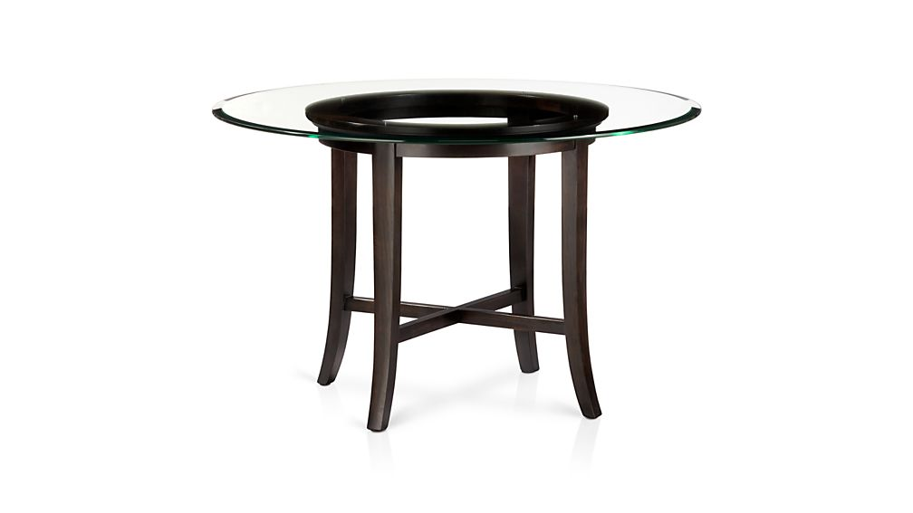 "Halo Ebony Round Dining Table with 42"" Glass Top"