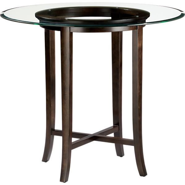 "Halo Ebony 42"" High Dining Table with 48"" Glass Top"