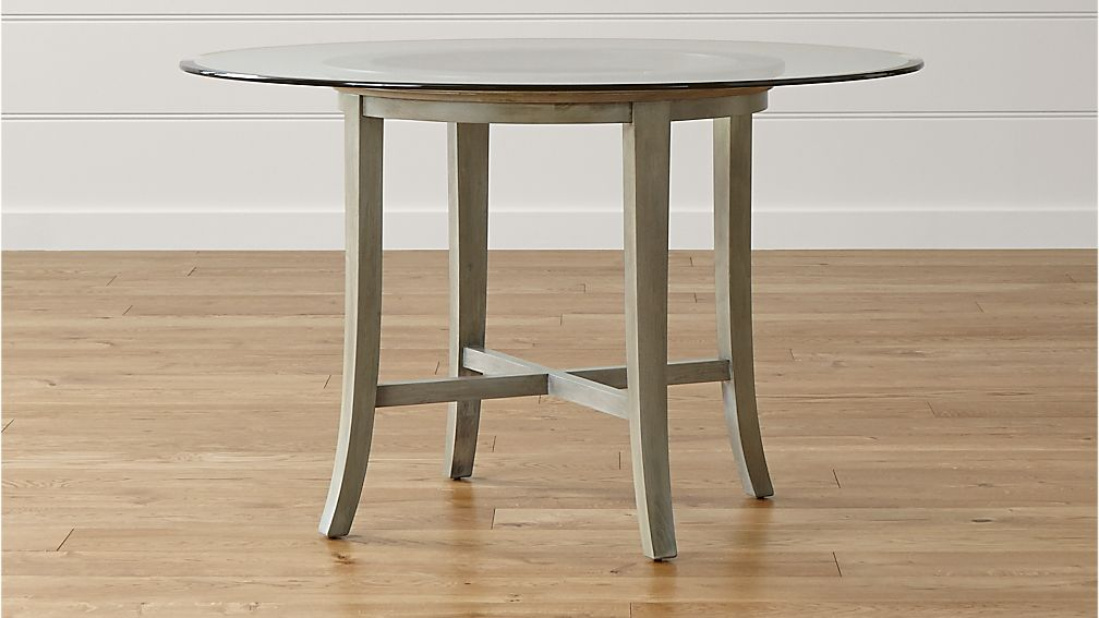 Halo Grey Round Dining Table with 48quot Glass Top in Halo  : halo grey dining tables with glass top from crateandbarrel.com size 1008 x 567 jpeg 59kB