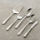 Halsted 5-Piece Serving Set: pastry server, cold meat fork, serving spoon, pierced serving spoon and butter knife.