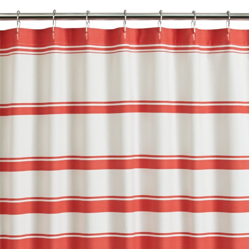 Hampton Stripe Coral Shower Curtain Crate And Barrel