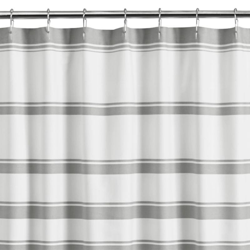 Hampton Stripe Grey Shower Curtain Crate And Barrel