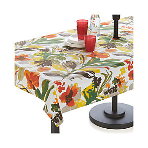 "Handpainted Floral 54""x90"" Umbrella Tablecloth"