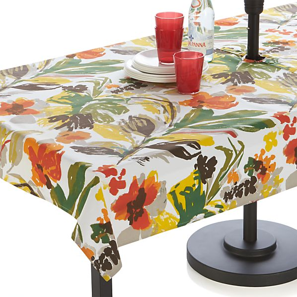Handpainted Floral Umbrella Tablecloth