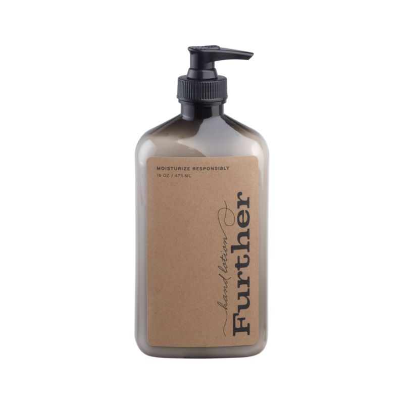 Essences of olive, bergamot and exotic grasses add unique fresh fragrance to this luxe moisturizing hand lotion crafted by Further, a small, family-run business in Southern California that manufactures its products through a waste-free process.<br /><br /><NEWTAG/><ul><li>Moisturizing lotion</li><li>Produced with waste-free process</li><li>Not tested on animals</li><li>Made in USA</li></ul>