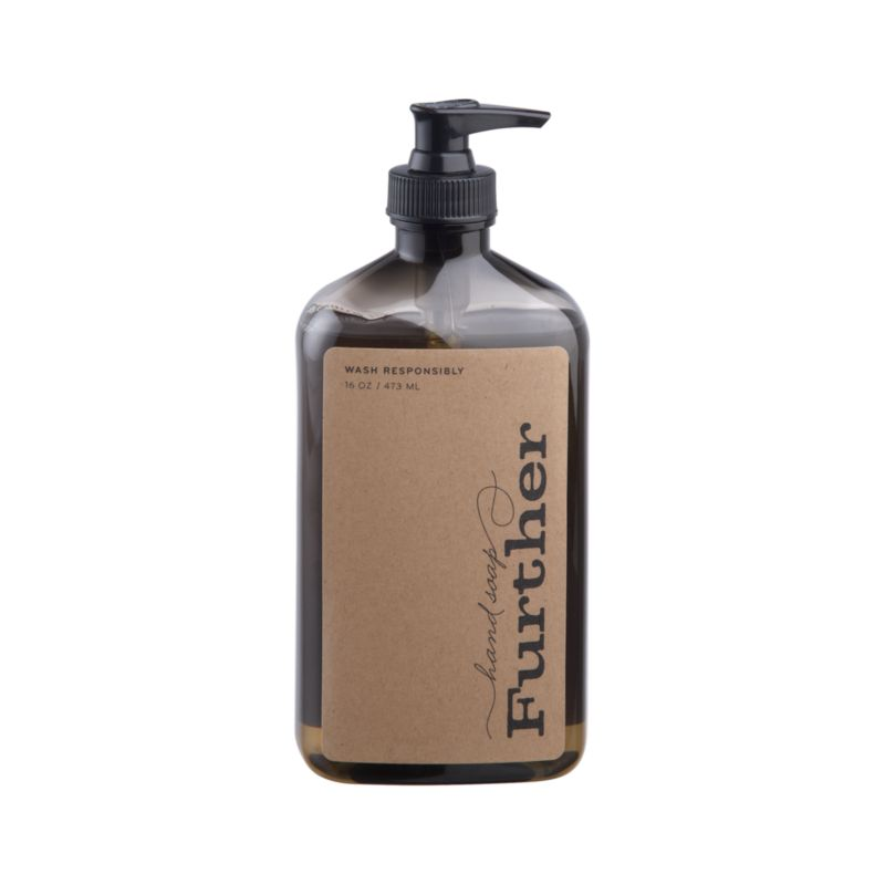Essences of olive, bergamot and exotic grasses add unique fresh fragrance to this non-drying liquid hand soap crafted by Further, a small, family-run business in Southern California that manufactures its products through a waste-free process.<br /><br /><NEWTAG/><ul><li>Non-drying liquid hand soap</li><li>Produced with waste-free process</li><li>Not tested on animals</li><li>Made in USA</li></ul>