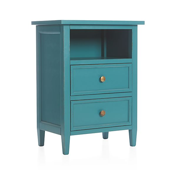 Harbor Blue Two-Drawer Nightstand