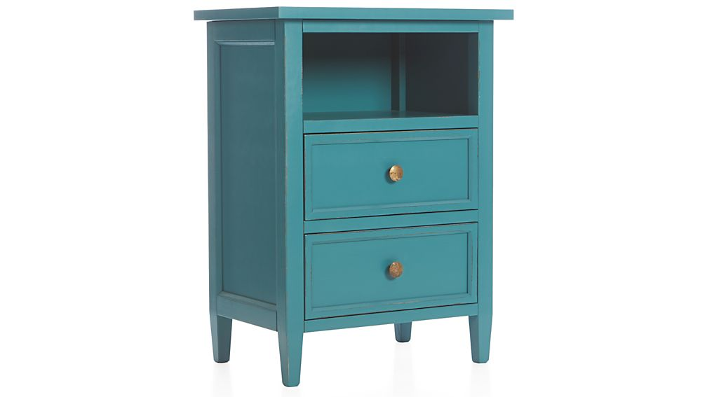 Harbor blue two drawer nightstand crate and barrel How tall is a nightstand