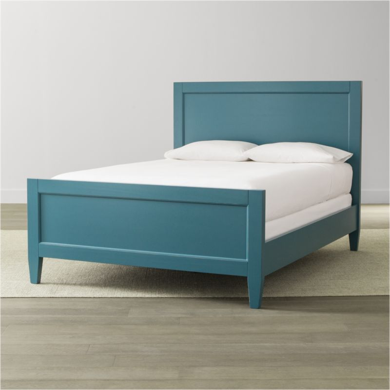 Our casual-modern Harbor bedroom collection evokes the simple pleasures of days at the shore. Handpainted in soft blue and distressed with a warm patina by Italian master craftsmen, this relaxed, inviting queen bed features recessed headboard and footboard panels and tapered legs. <NEWTAG/><ul><li>Solid Tulip wood and engineered wood</li><li>Hand-applied blue water-based paint sealed with a beeswax finish</li><li>Naturally expands and contracts with changes in humidity</li><li>4 slats and 3 support legs</li><li>Mattresses and box springs also available (sold separately)</li><li>Maximum weight capacity: 800 lbs. (includes weight of mattress, box spring and occupants)</li><li>Made in Italy</li></ul>