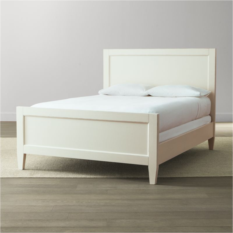 Our casual-modern bedroom collection, Harbor evokes the simple pleasures of days at the shore. Handpainted in soft white and distressed with a warm patina by Italian master craftsmen, this relaxed, inviting bed features recessed headboard and footboard panels and tapered legs. <NEWTAG/><ul><li>Solid Tulip wood and engineered wood</li><li>Hand-applied white water-based paint sealed with a beeswax finish</li><li>Naturally expands and contracts with changes in humidity</li><li>4 slats and 3 support legs</li><li>Mattresses and box springs also available (sold separately)</li><li>Maximum weight capacity: 800 lbs. (includes weight of mattress, box spring and occupants)</li><li>Made in Italy</li></ul>
