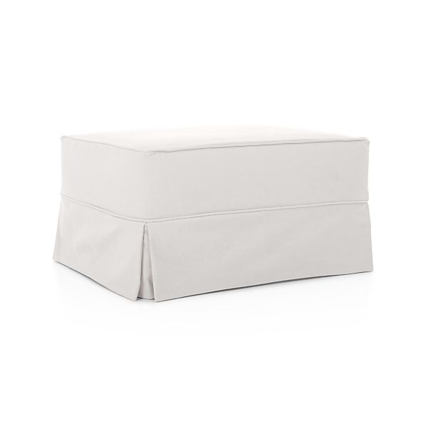 Harborside slipcovered ottoman snow crate and barrel for Crate and barrel pouf