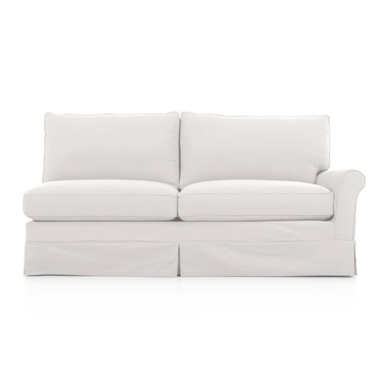 Harborside Slipcovered Right Arm Full Sleeper Sectional Sofa<br />Casually dressed with cottage style, Harborside really knows how to take life easy. Its deep-cushioned, relaxed attitude fits any room, while its machine-washable skirted slipcover takes on everyday living. Petite rolled arms, deep seat and high back cushions sit big and comfortable.<br /><br />Additional slipcovers available below and through stores featuring our Furniture Collection.<br /><br />After you place your order, we will send a fabric swatch via next day air for your final approval. We will contact you to verify both your receipt and approval of the fabric swatch before finalizing your order.<br /><br /><NEWTAG/><ul><li>Eco-friendly construction</li><li>Certified sustainable, kiln-dried hardwood frame</li><li>Sinuous wire suspension</li><li>Back and seat cushions are soy-based polyfoam, wrapped in regenerated s