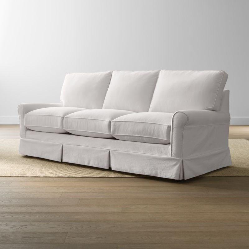 Keep your Harborside queen sleeper sofa looking as fresh as the day you brought it home with this convenient, carefree replacement slipcover. Fitted cotton-blend slipcover is tailored with crisp inverted kick pleats and self-welting to keep it neatly in place. Harborside Queen Sleeper Sofa Replacement Slipcover is a Crate and Barrel exclusive.<br /><br /><NEWTAG/><ul><li>Removable slipcover is machine washable</li><li>Self-welting</li><li>Material origin: see swatch</li><li>Made in North Carolina, USA</li></ul>