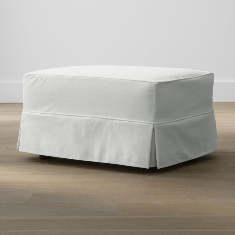 Keep your Harborside ottoman looking as fresh as the day you brought it home with this convenient, carefree replacement slipcover. Fitted cotton-blend slipcover is tailored with crisp inverted kick pleats and self-welting to keep it neatly in place. Harborside Ottoman Replacement Slipcover is a Crate and Barrel exclusive.<br /><br /><NEWTAG/><ul><li>Removable slipcover is machine washable</li><li>Self-welting</li><li>Material origin: see swatch</li><li>Made in North Carolina, USA</li></ul>
