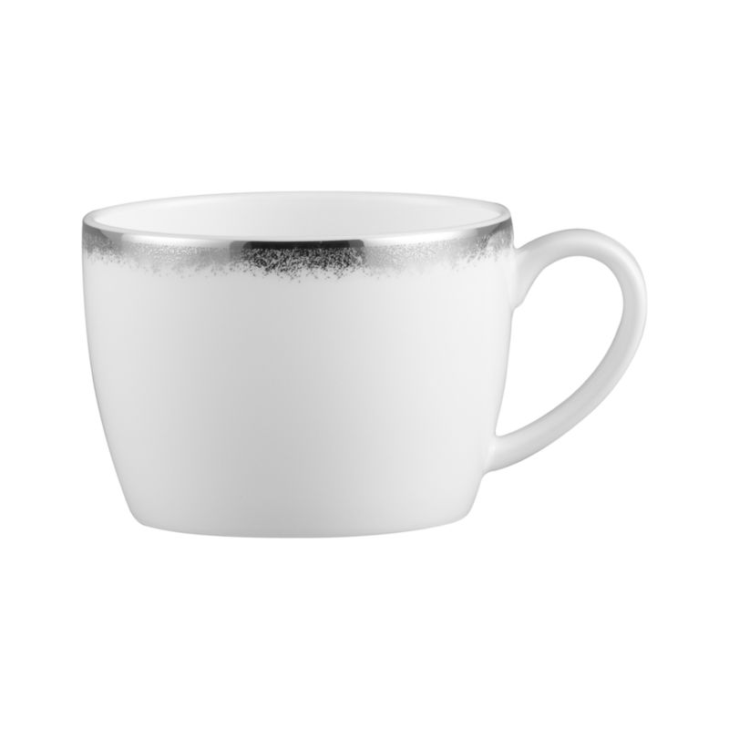 Simple and sophisticated. Clean contemporary coupe shape in gleaming white gets an elegant accent of feathered platinum around its rim. Bone china is highly durable and chip- and stain-resistant.<br /><br /><strong>Please note:</strong> This mug will be discontinued in June 2014.<br /><br /><NEWTAG/><ul><li>Bone china</li><li>Coupe shapes</li><li>Platinum rims</li><li>Dishwasher-safe; hand wash for longer life</li><li>Made in Japan</li></ul>