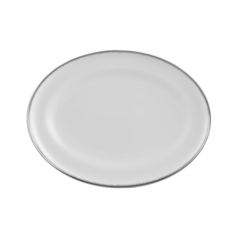 Simple and sophisticated. Clean contemporary coupe shape in gleaming white gets an elegant accent of feathered platinum around its rim. Bone china is highly durable and chip- and stain-resistant.<br /><br /><strong>Please note:</strong> This platter will be discontinued in June 2014.<br /><br /><NEWTAG/><ul><li>Bone china</li><li>Coupe shapes</li><li>Platinum rims</li><li>Dishwasher-safe; hand wash for longer life</li><li>Made in Japan</li></ul>