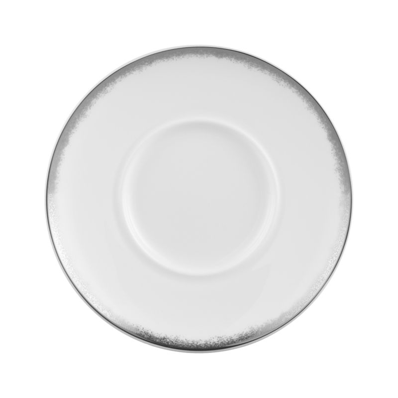 Simple and sophisticated. Clean contemporary coupe shape in gleaming white gets an elegant accent of feathered platinum around its rim. Bone china is highly durable and chip- and stain-resistant.<br /><br /><strong>Please note:</strong> This saucer will be discontinued in June 2014.<br /><br /><NEWTAG/><ul><li>Bone china</li><li>Coupe shapes</li><li>Platinum rims</li><li>Dishwasher-safe; hand wash for longer life</li><li>Made in Japan</li></ul>