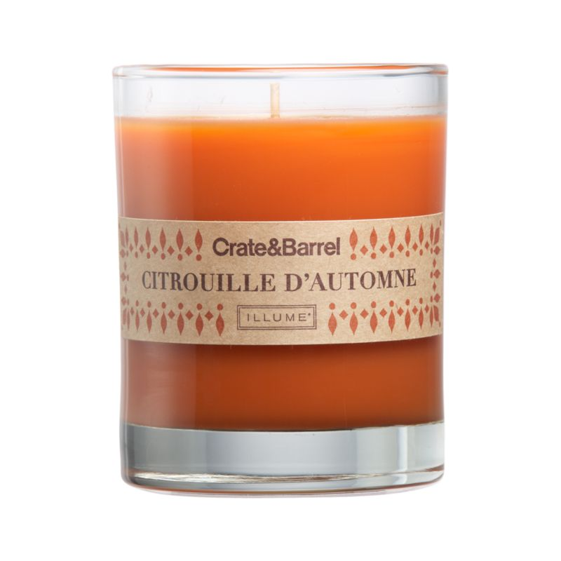 The luscious scent of spiced pumpkin wafts warm seasonal fragrance from orange candle set in a clear glass.<br /><br /><NEWTAG/><ul><li>Food-grade paraffin wax</li><li>Cotton wick</li><li>Glass container</li><li>Scented</li><li>Burn time: 40 hours</li></ul>