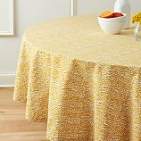 "Harvest 90"" Round Yellow Tablecloth"