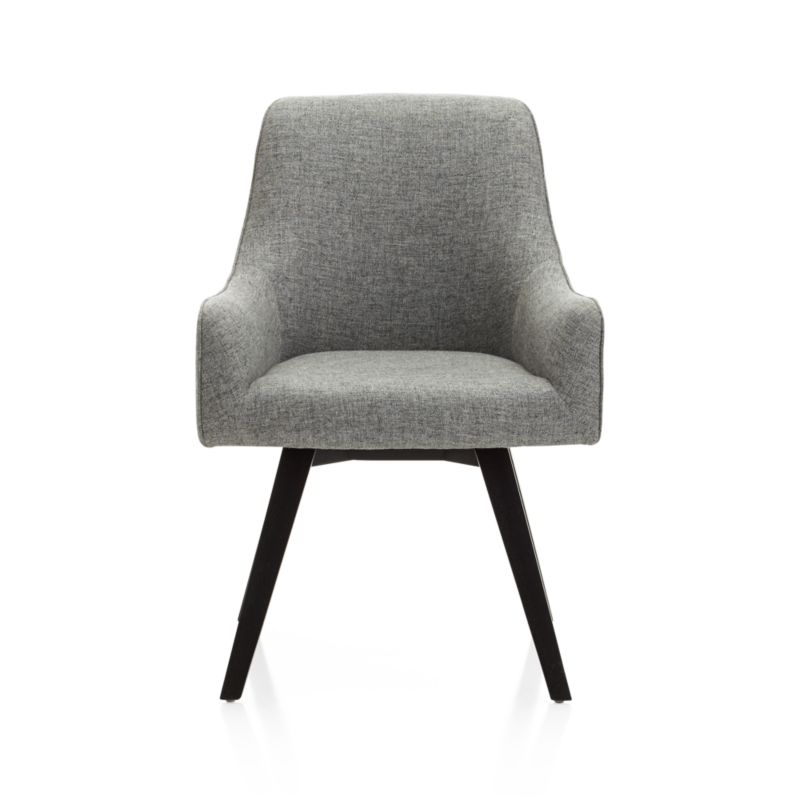 Sculpted for comfort and given contemporary styling, this upholstered desk chair is designed to put everyone at ease. Angled legs and black-and-white tweed blended fabric give Harvey a smart look for any office setting, be it classic or contemporary. <NEWTAG/><ul><li>Designed by Bethan Gray</li><li>Plywood seat and bent plywood back</li><li>Solid hardwood legs with black stain and clear lacquer topcoat</li><li>Viscose-linen blend upholstery with self-welt detailing</li><li>360-swivel mechanism</li><li>Polyfoam tight back and seat</li><li>Plastic glides</li><li>Made in China</li></ul><br />