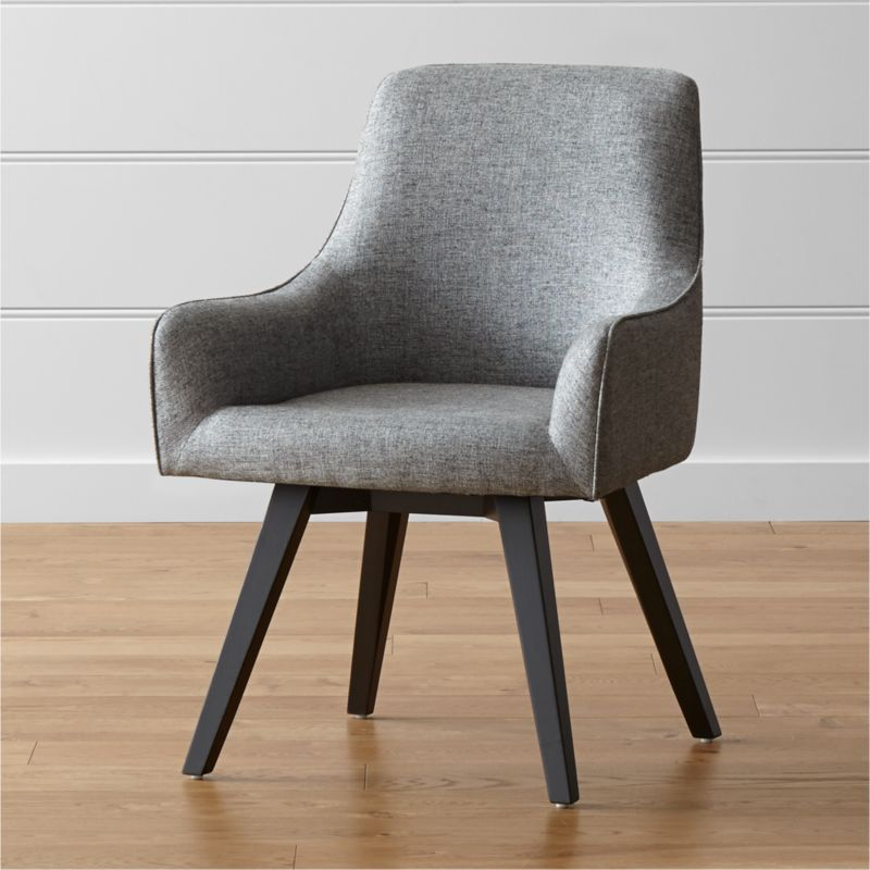 Sculpted for comfort and given contemporary styling, this upholstered desk chair is designed to put everyone at ease. Angled legs and black-and-white tweed blended fabric give Harvey a smart look for any office setting, be it classic or contemporary. <NEWTAG/><ul><li>Designed by Bethan Gray</li><li>Plywood seat and bent plywood back</li><li>Solid hardwood legs with black stain and clear lacquer topcoat</li><li>Viscose-linen blend upholstery with self-welt detailing</li><li>360-swivel mechanism</li><li>Polyfoam tight back and seat</li><li>Plastic glides</li><li>Made in China</l