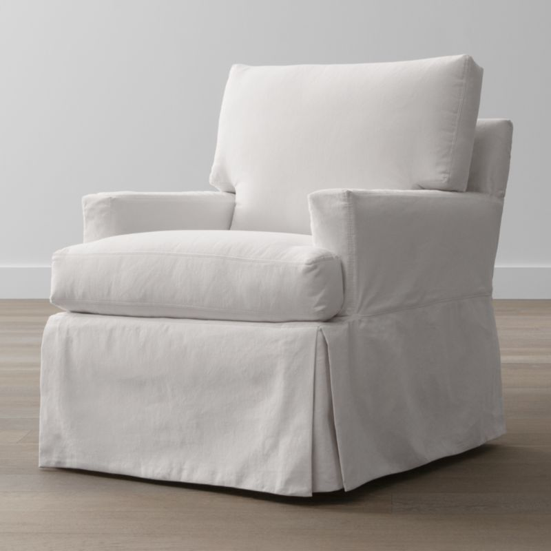 A back-up for your Hathaway swivel glider slipcover assures you can keep it looking fresh on short notice. Family-friendly, cotton-blend slipcovers are crisply tailored with inverted corner kick pleats for a skirted effect. Slipcovers are finished with topstitch detailing and remove easily to go right in the washing machine.<br /><br /><NEWTAG/><ul><li>Machine-washable</li><li>Topstitching</li><li>Material origin: see swatch</li><li>Made in North Carolina, USA</li></ul>