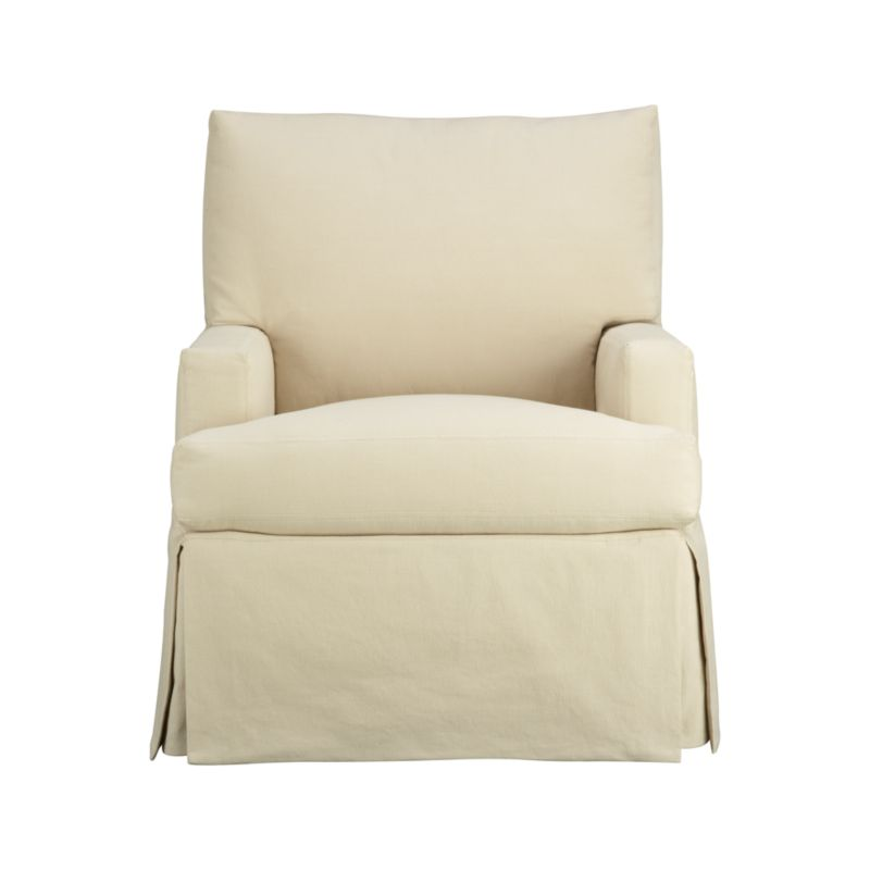 "Family-friendly slipcover for Hathaway Swivel Glider in a cotton-poly blend goes right in the washing machine.<br /><br />Additional <a href=""http://crateandbarrel.custhelp.com/cgi-bin/crateandbarrel.cfg/php/enduser/crate_answer.php?popup=-1&p_faqid=125&p_sid=DMUxFvPi"">slipcovers</a> available below and through stores featuring our Furniture Collection.<br /><br />After you place your order, we will send a fabric swatch via next day air for your final approval. We will contact you to verify both your receipt and approval of the fabric swatch before finalizing your order.<br /><br /><NEWTAG/><ul><li>Cotton-polyester with topstitch detailing</li><li>Machine wash</li><li>Made in North Carolina, USA</li></ul>"