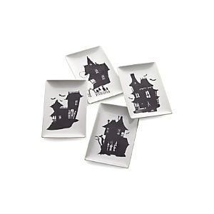 Set of 4 Haunted House Plates
