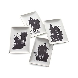 Set of 4 Haunted House Plates