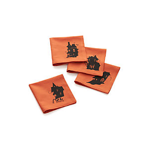 Set of 4 Haunted House Cocktail Napkins
