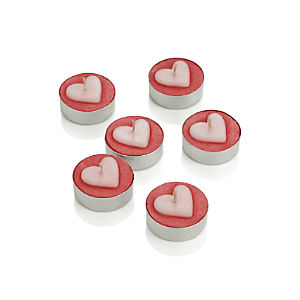 Set of Six Heart Tealight Candles