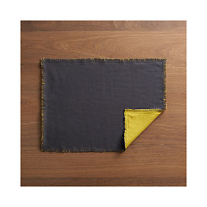 Helena Mustard-Graphite Reversible Placemat