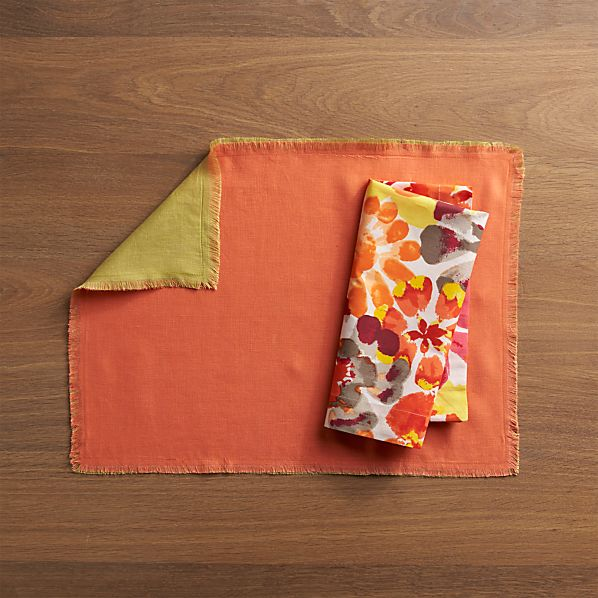 Helena Coral-Pear Reversible Placemat and Amelia Pinks Napkin