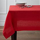 """Helena Cherry Linen 60""""x90"""" Tablecloth."""