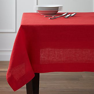 "Helena Cherry Linen 60""x120"" Tablecloth"