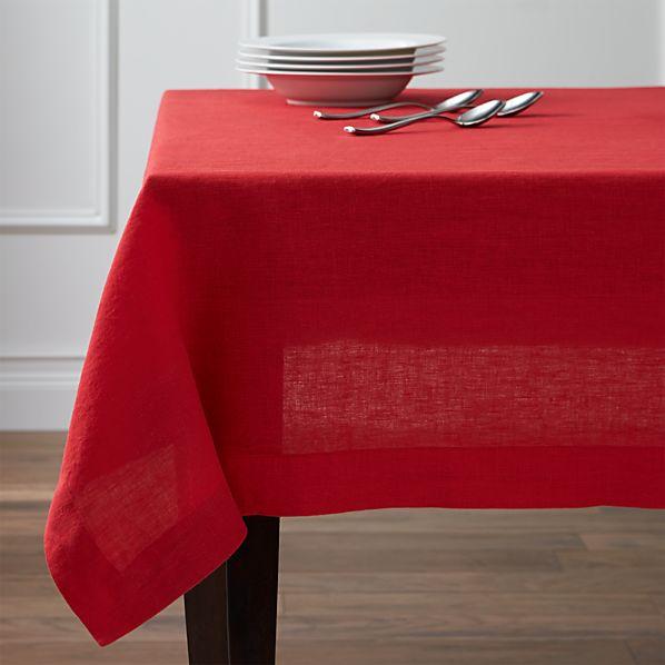 Helena Cherry Linen Tablecloth