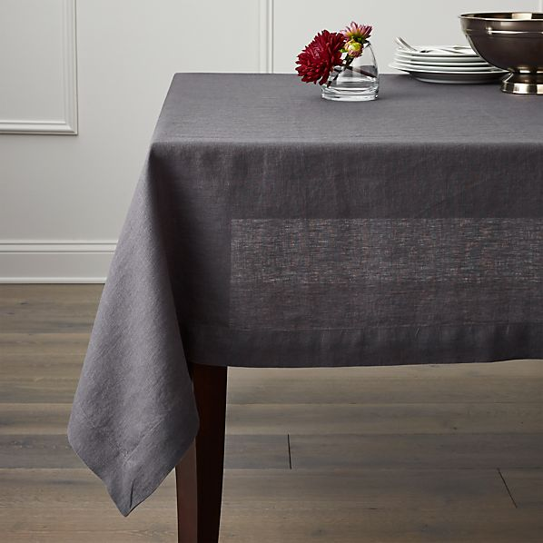 Helena Graphite Linen Tablecloth